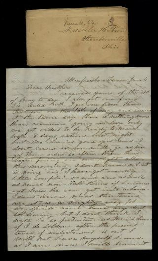 2nd Ohio Infantry Civil War Letter - Ready To March From Murfreesboro,  Tennessee