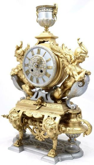 Large Antique Mantle Clock French 8 Day Stunning 2 Tone 2 Figural Gilt C1880 2