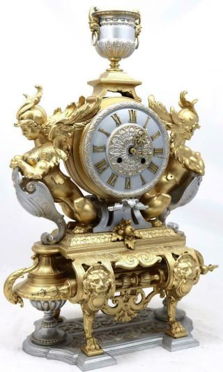 Large Antique Mantle Clock French 8 Day Stunning 2 Tone 2 Figural Gilt C1880 3
