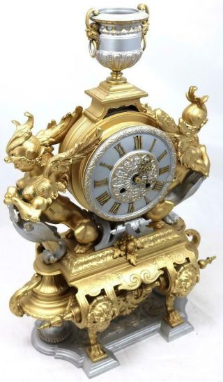 Large Antique Mantle Clock French 8 Day Stunning 2 Tone 2 Figural Gilt C1880 4