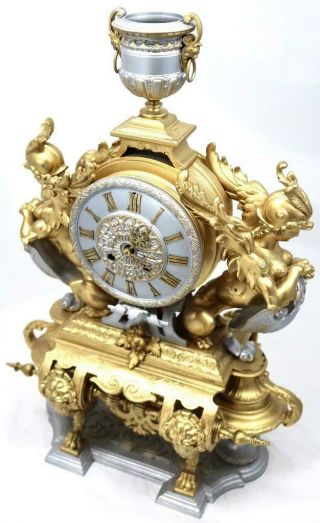 Large Antique Mantle Clock French 8 Day Stunning 2 Tone 2 Figural Gilt C1880 5