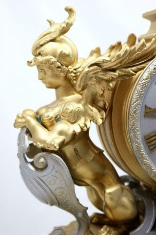 Large Antique Mantle Clock French 8 Day Stunning 2 Tone 2 Figural Gilt C1880 6