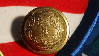 Connecticut State Seal Staff Coat Button Jmlh Scovill Early Civil War