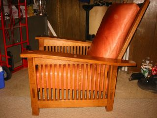 STICKLEY Spindle Morris Chair - Adjustable Back - Oak - with matching Ottoman 2
