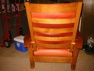 STICKLEY Spindle Morris Chair - Adjustable Back - Oak - with matching Ottoman 3