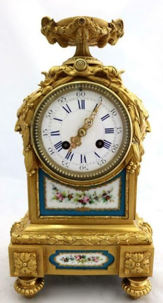 Antique Mantle Clock French Solid Bronze & Sevres Bell Striking C1880