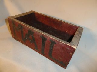 """Antique Rustic Wood Primitive Mail Box Old Red Paint 10 X 5 1/4 X 3 3/4 """""""