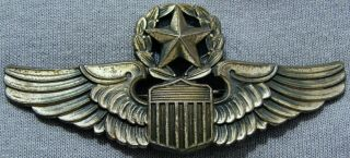 """Wwii Us Army Air Corps Command Pilot Wings Pinback 3 """" Maker Mark Shield W/ 9 M"""