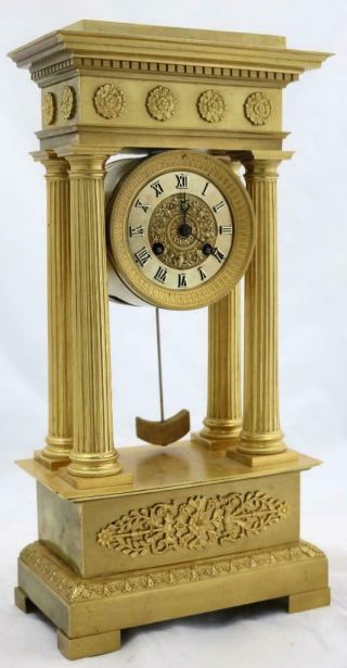 Antique Portico Mantle Clock Exceptional French Ormolu Bronze 2nd Empire 1850