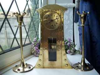 Antique Arts & Crafts Hammered Brass Mantle Clock And Candlesticks C1900