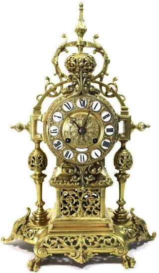 Antique French Mantle Clock 1880s Pierced Embossed Bronze Bell Striking