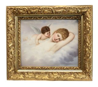 Fine Kpm Porcelain Plaque Angel And Nude Beauty,  4th Quarter Of 19th Century