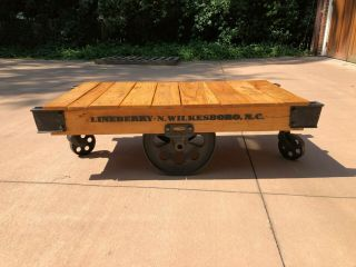 Lineberry Factory Railroad Cart Restored To Coffee Table