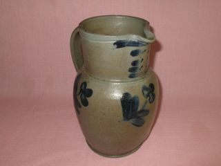 """Antique 19th C Stoneware Flower Clover Decorated Small Maryland Pitcher 8 7/8 """""""