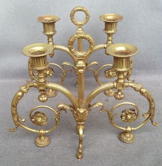 Big Antique Louis Xvi Style Candlesticks Brass Early 1900