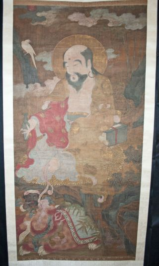 Antique Chinese Hanging Scroll Painting Watercolor - Immortals,  Lion - 19thc