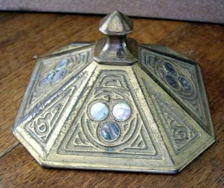 Fab.  Tiffany Studios Paperweight,  Gilt Bronze With Abalone Inserts