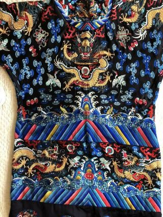 Antique Chinese Restyled Ceremonial Dragon Robe Chaofu Gold Couching Embroidery 10