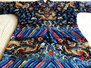 Antique Chinese Restyled Ceremonial Dragon Robe Chaofu Gold Couching Embroidery 12