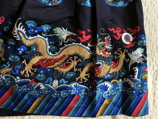 Antique Chinese Restyled Ceremonial Dragon Robe Chaofu Gold Couching Embroidery 8