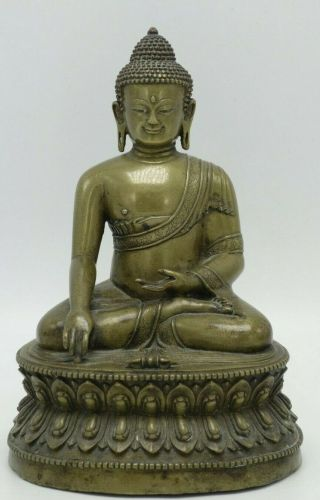 Antique Chinese /tibetan Carved Bronze Buddha Statue