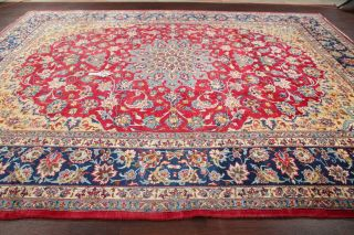 Vintage Najafabad Floral Oriental Area Rug Hand - Knotted Wool Red Carpet 10x13