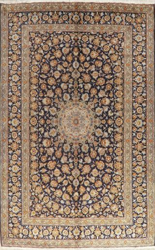 Traditional Vintage Floral Oriental Wool Area Rug Hand - Knotted Navy Carpet 9x12