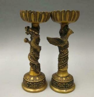 A Pair Old China Brass Dragon And Phoenix Candlestick