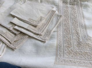 """Large Vintage Madeira Hand Embroidered Linen Tablecloth 69 """" X 85 """" 6 Napkins"""