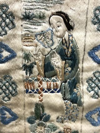 Antique 19th Century Chinese Silk On Silk Embroidery Panal