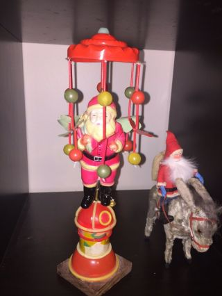 Rare Huge 1930 Celluloid Prewar Windup Santa Claus Whirlygig Toy Deco Antique