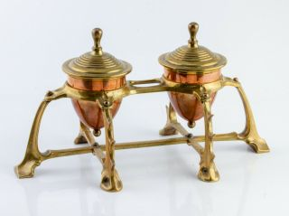 Arts & Crafts Nouveau Copper Brass Double Desk Inkwell Inkstand C1890