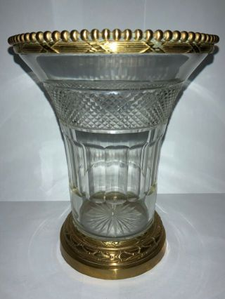 French Cut Crystal Vase With Bronze Details