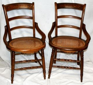 Antique American Victorian Walnut Side Chairs W/ Round Cane Seats,  Set Of Two