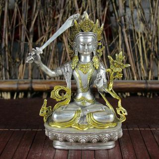 Chinese Antique Tibet Silver Gilt Carved Figure Of Manjushri Buddha Statue