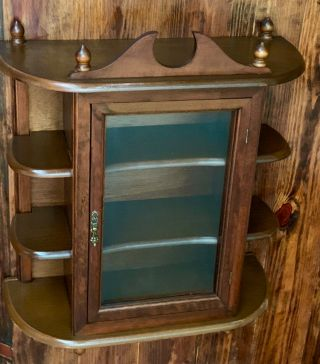 Antique Wood Mirror And Glass Wall Display Curio Cabinet Spice Rack,  9 Shelves