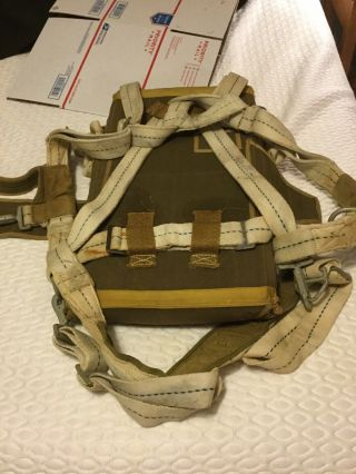 Rare WWII Paratrooper T - 7 Parachute Pack And Silk 5