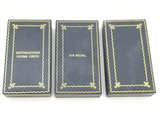 WWII US Navy Pilot KIA Cased Medal Trio Distinguished Flying Cross Air Medal USN 5