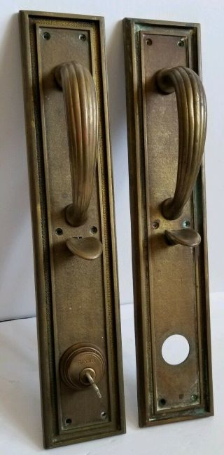 Antique Heavy Bronze Russwin Copley Gothic Door Pull & Push Plate Set Lock Key
