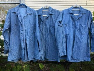 3 Rare Vintage Wwii Ww2 Us Navy Usn Chambray Work Shirts 14 1/2