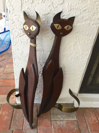 Mid - Century Modern Teak Wood Cats/ Pair Wall Decor Hangings
