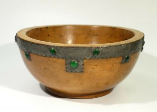 Antique Arts & Crafts Turned Wood Bowl With Jewelled Pewter Decoration.