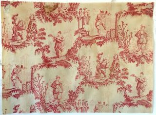 Rare Early 19th C.  French Cotton Chinoiserie Printed Toile (2791)