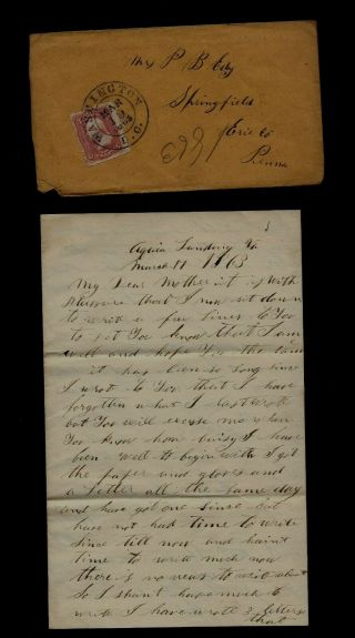 """111th Pennsylvania Infantry Civil War Letter """" Called By The Bugle """" Aquia Landing"""