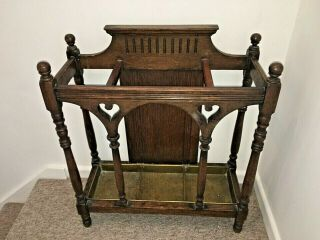 Antique Arts & Crafts Gothic Oak Walking Stick Stand Umbrella Stand Brass Tray