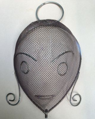 Frederick Weinberg Wire Mesh 3 - D Ladies Head For Clothes Hanger Brass Color