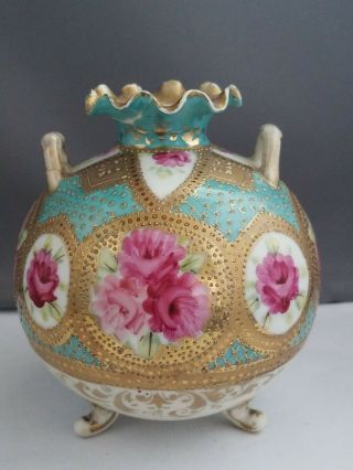 Gorgeous Antique Footed Two - Handled Hand - Painted Porcelain Vase Signed