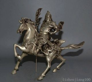 Collectable China Tibet Silver Hand Carve Figure Guan Yu Precious Vivid Statue