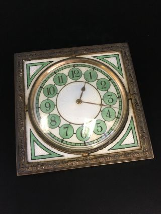Art Deco Guilloche Enamel Bronze Clock (250011)