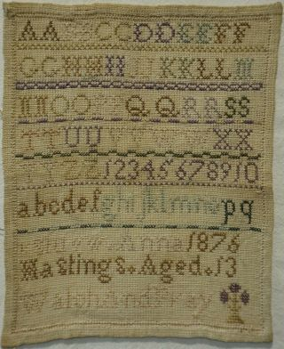 Small Mid/late 19th Century Alphabet Sampler By Anna Hastings Aged 13 - 1876